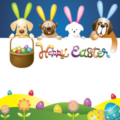 Easter Eggs in Basket with Various Dogs as Bunnies