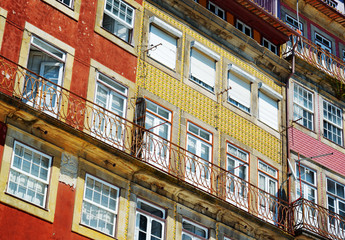 Colorful facades of old houses in Porto, Portugal.