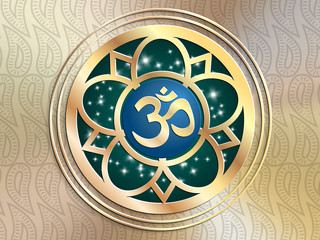 illustration: OM symbol,amulet from Nepal