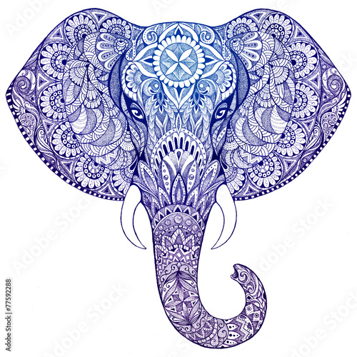 canvas print picture Tattoo elephant with patterns and ornaments