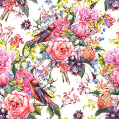 Seamless Floral Watercolor Background