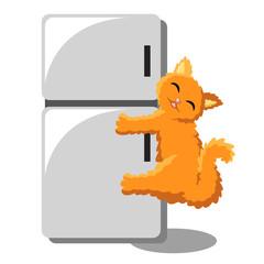 Fluffy orange cat hugging a refrigerator