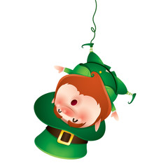 Leprechaun hanging upside down