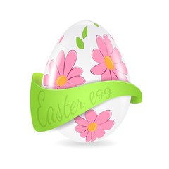 Illustration of Easter egg with flower decoration and ribbon