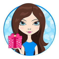 Cute girl give in hand a gift box.