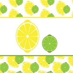 Vector lemon and lime cut in half.
