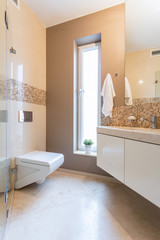 Beige bathroom in the apartment