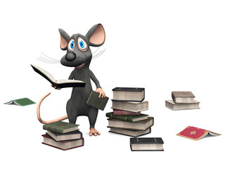 Smiling cartoon mouse holding a book.