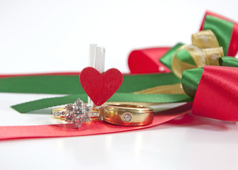 Wedding  ring with decoration background