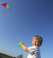 happy boy with kite