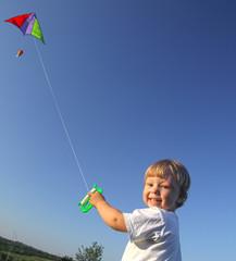 happy boy with kite