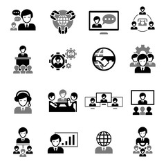 Business Meeting Icons Black