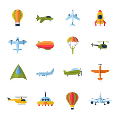 Aircraft icons set flat