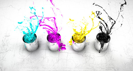CMYK buckets splashing around