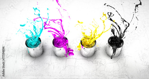CMYK buckets splashing around - 77594894