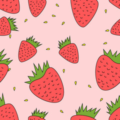 seamless floral background - strawberries