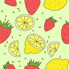 seamless floral background - strawberries and lemon