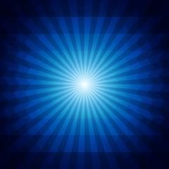 Deep blue dark geometric background with sunburst and triangles.