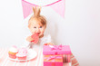 canvas print picture - happy little princess at pink party