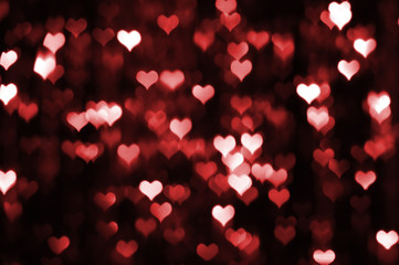 Abstract dark valentine background with red hearts