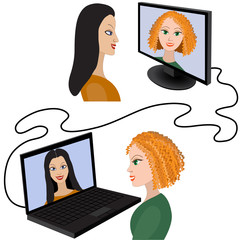 Two women having a video chat through the internet