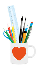 Coffee Mug and Art Studio Tools