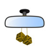 Car mirror with pair of brown dices