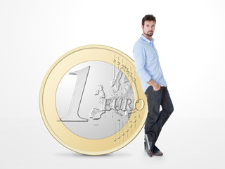 young man endorsed on a big one euro coin