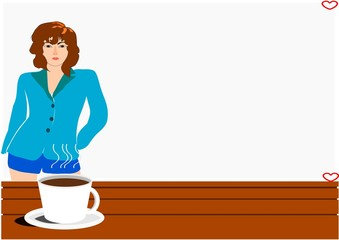 cup of coffee on brown table with woman background