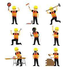 Construction Engineer Worker Builder Set Two