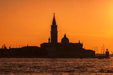 Silhouette of San Girogio Maggiore Church in Venice