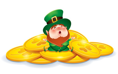 Leprechaun and gold coins