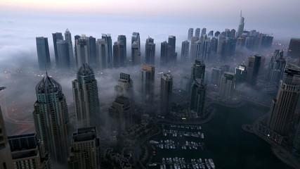 aerial view skyscraper foggy weather Dubai