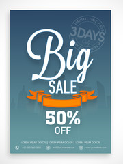 Big sale flyer, banner or template design with discount offer.
