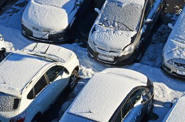 parkplatz, schnee, winter