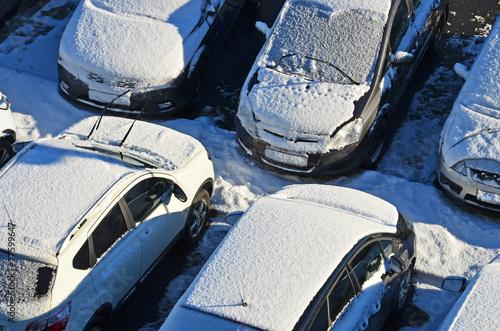 parkplatz, schnee, winter - 77599647