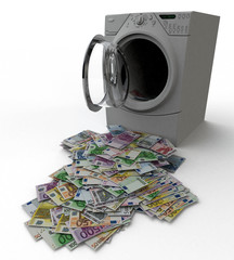 Washing Machine with Money Laundry on White Background