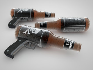 Bottle of Alcohol and Gun Concept