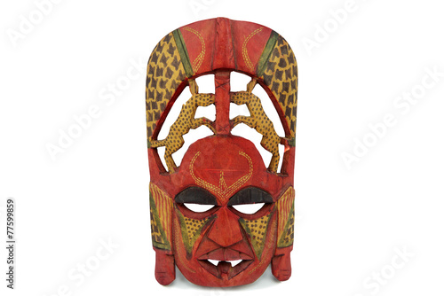 Papiers peints Statue Wooden african mask isolated on white background