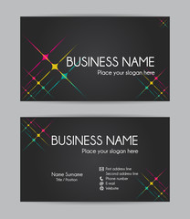 Business card. Flat design. Front and back set III.