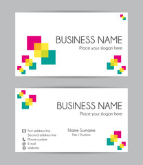 Business card. Flat design. Front and back set II.