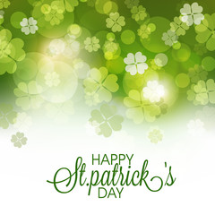 Greeting card with clovers for St. Patrick's Day celebration.