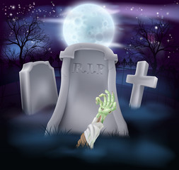 Zombie grave Halloween illustration