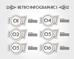 retro circle infographic stickers