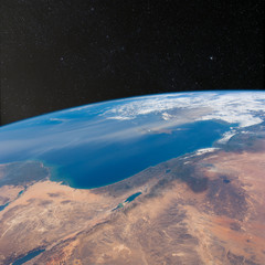 Israel, Jordan, Lebanon and Egypt from space with stars above.