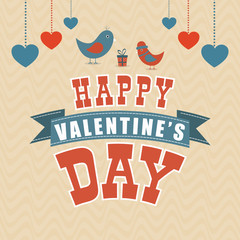 Happy Valentines Day celebration greeting card with hearts.