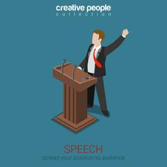 Tribune speech business politics concept flat 3d web isometric
