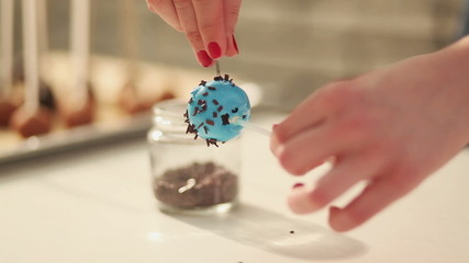Process of baking homemade cake pops