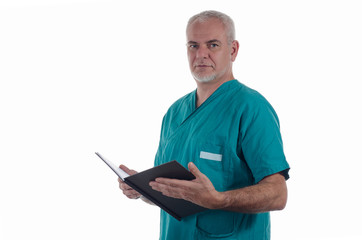 Surgeon with medical records