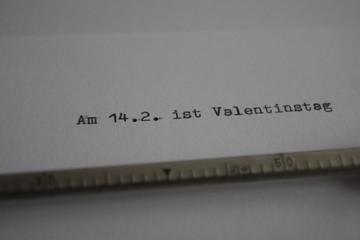 Valentinstag Brief Schreibmaschine